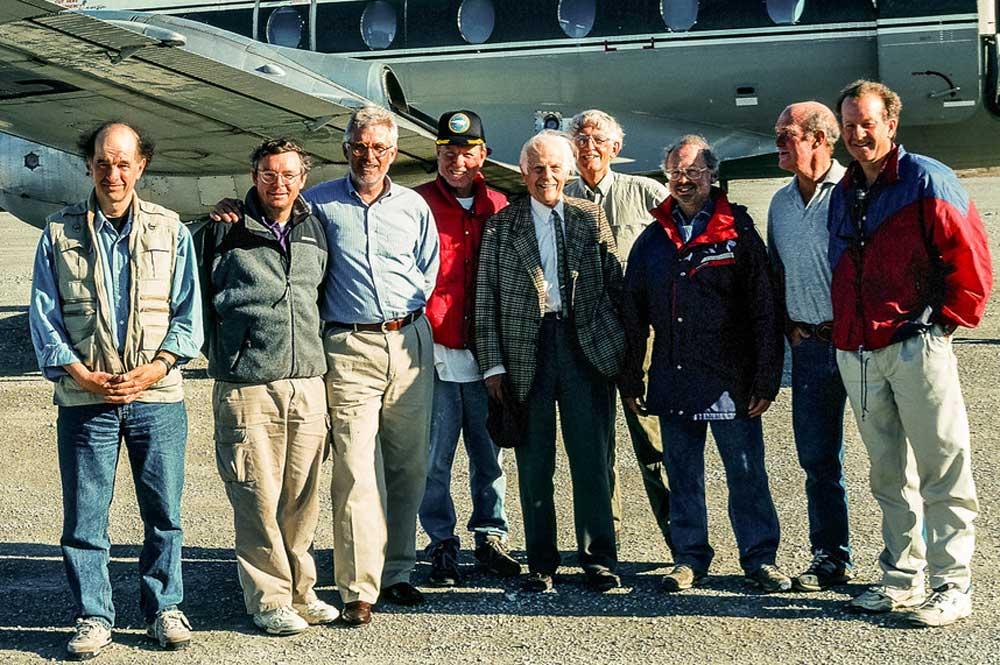 L-R Back: John Gow, Peter Stollery, Craig Oliver, Jean Pelletier, John Godfrey. L-R front: David Silcox, Tim Kotcheff, Pierre Trudeau